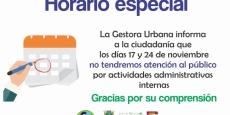 Gestora Urbana no tendrá servicio el próximo viernes 24 de noviembre