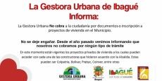 Gestora Urbana no cobra por inscripción a proyectos de vivienda